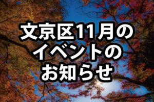 【2017年11月】文京区で予定されているイベント・祭まとめ!