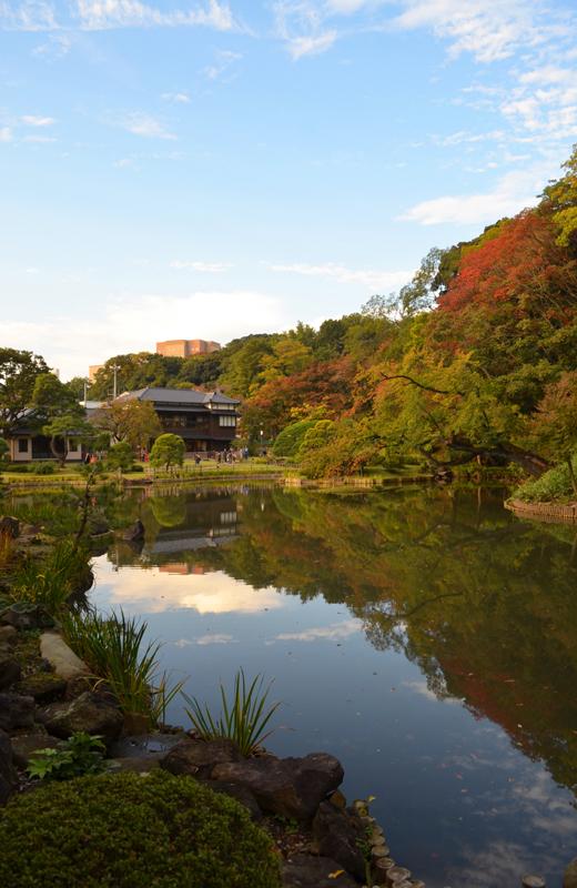 肥後細川庭園の青い空と池