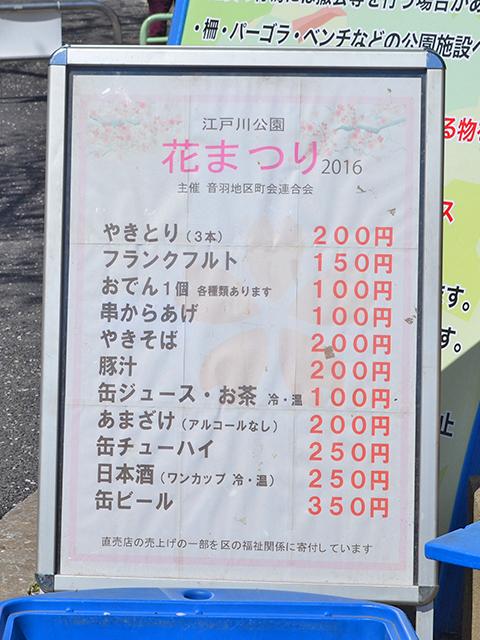 江戸川公園、花まつり屋台のメニュー